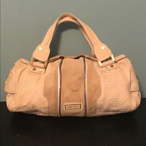 Authentic Jimmy Choo Tan Suede Hobo Satchel